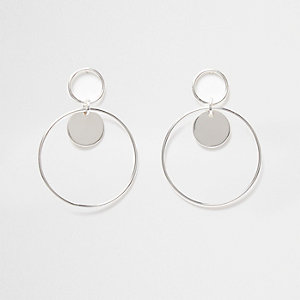 Silver tone double hoop disk earrings