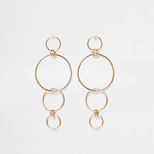 Gold tone hoop link dangle earrings