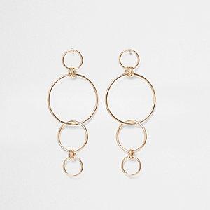 Gold tone hoop link dangle earrings