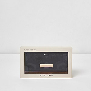 Black cutabout panel clip top purse