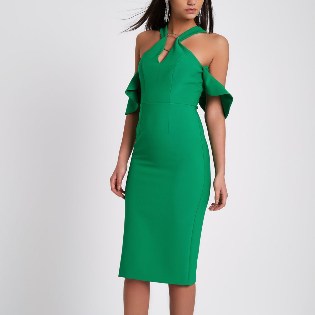 Green ring front bodycon midi dress