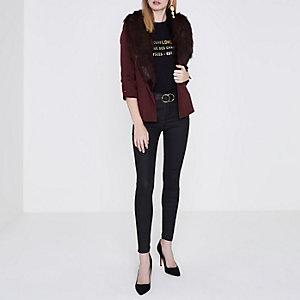 Dark red faux fur collar blazer