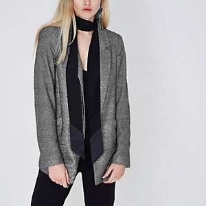 Zilverkleurige metallic blazer met glimmend garen