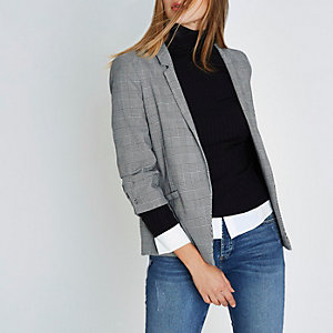 Black check bar cuff blazer