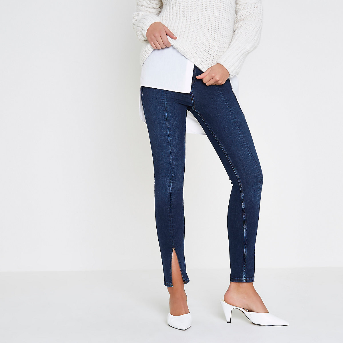 Dark blue Amelie hem split super skinny jeans