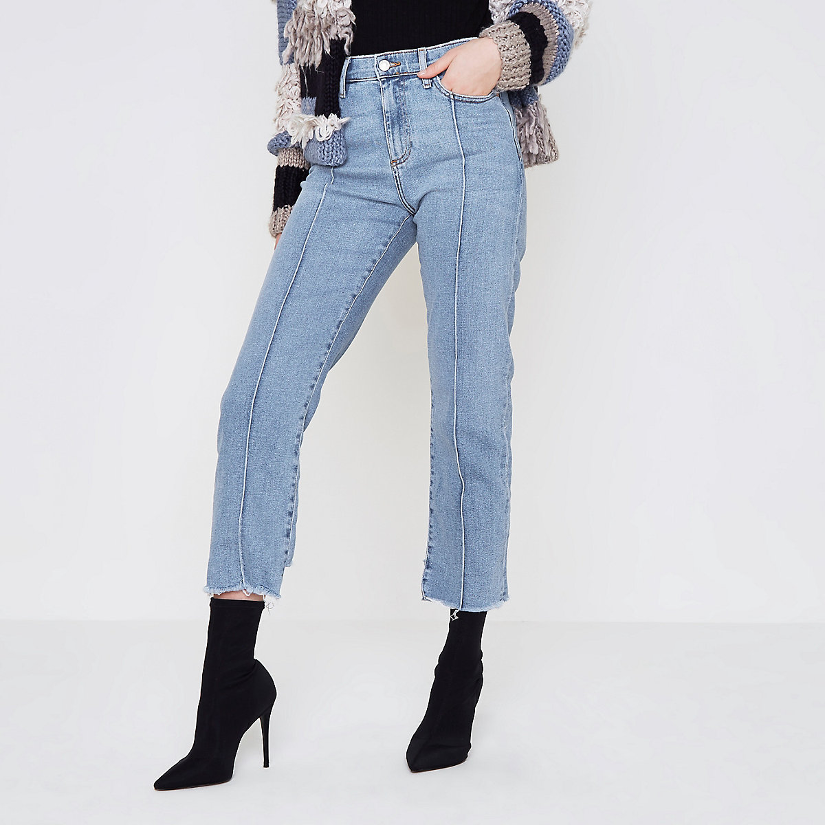 Mid blue Bella raw hem straight leg jean