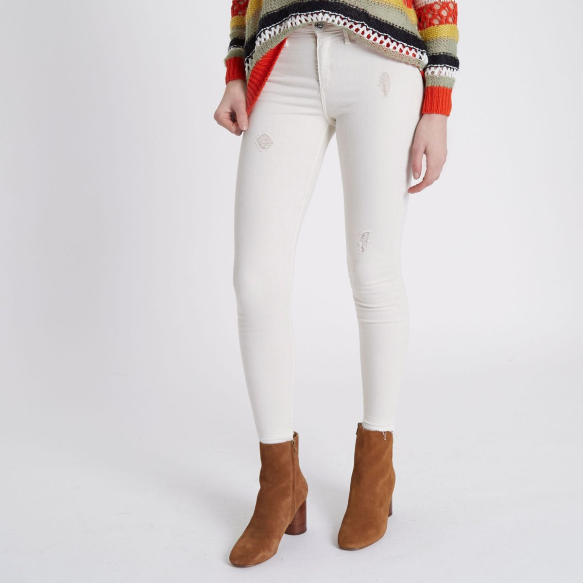 Cream Molly distressed skinny jeggings