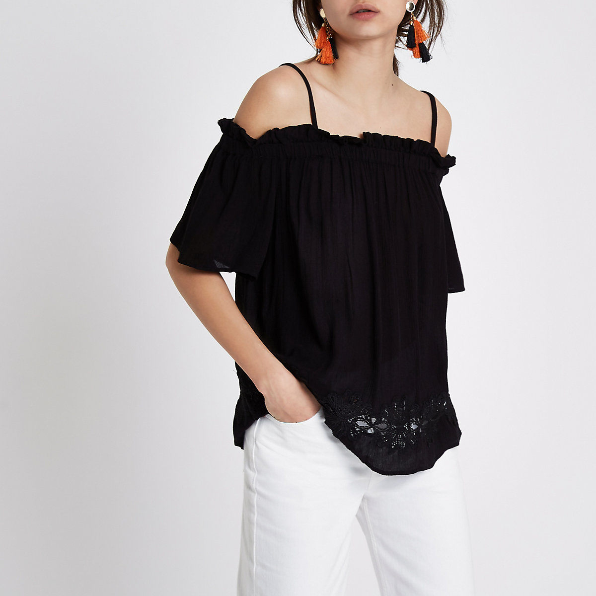 Black cold shoulder crochet hem top