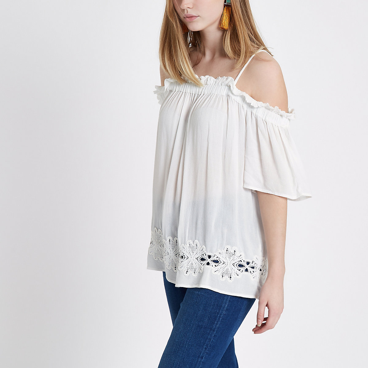 White crochet hem cold shoulder top
