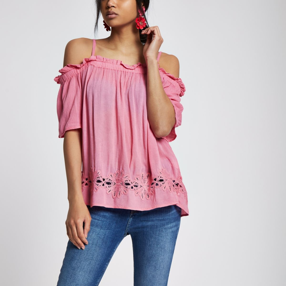 Pink cold shoulder lace hem top
