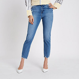 Bella – Blaue Straight Leg Jeans im Used-Look