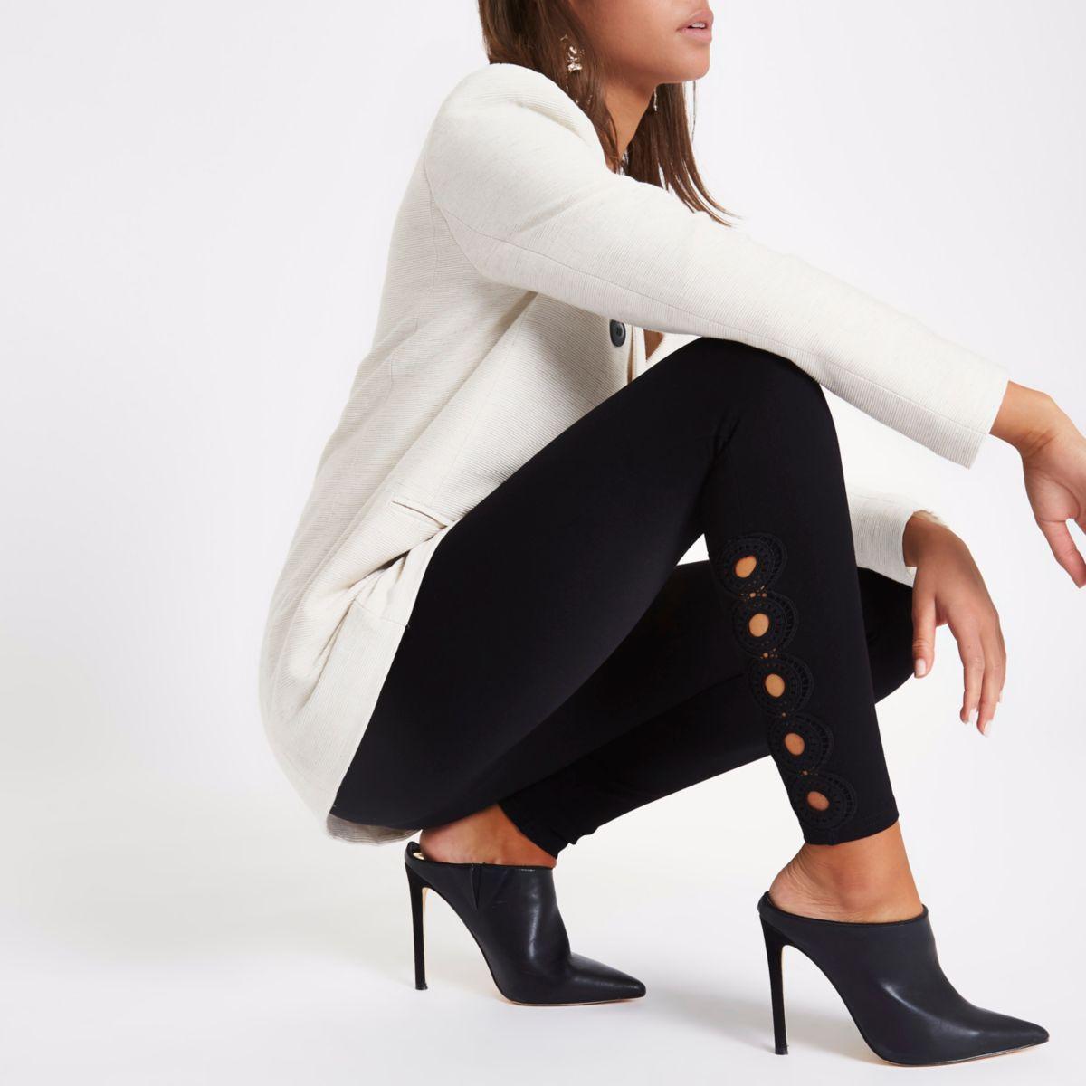 Zwarte legging met gehaakte rand