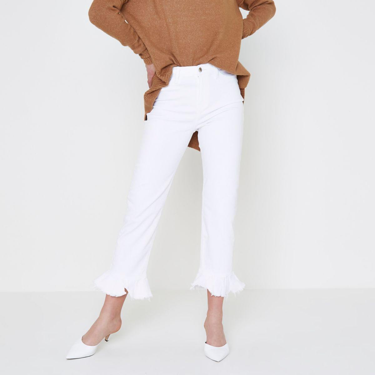 White Bella frill hem straight leg jeans