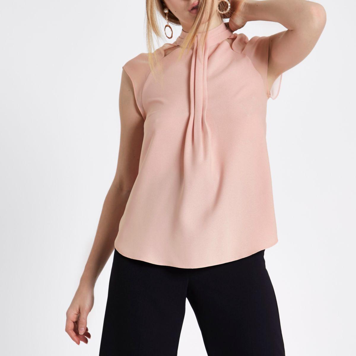 Pink  high neck chiffon top