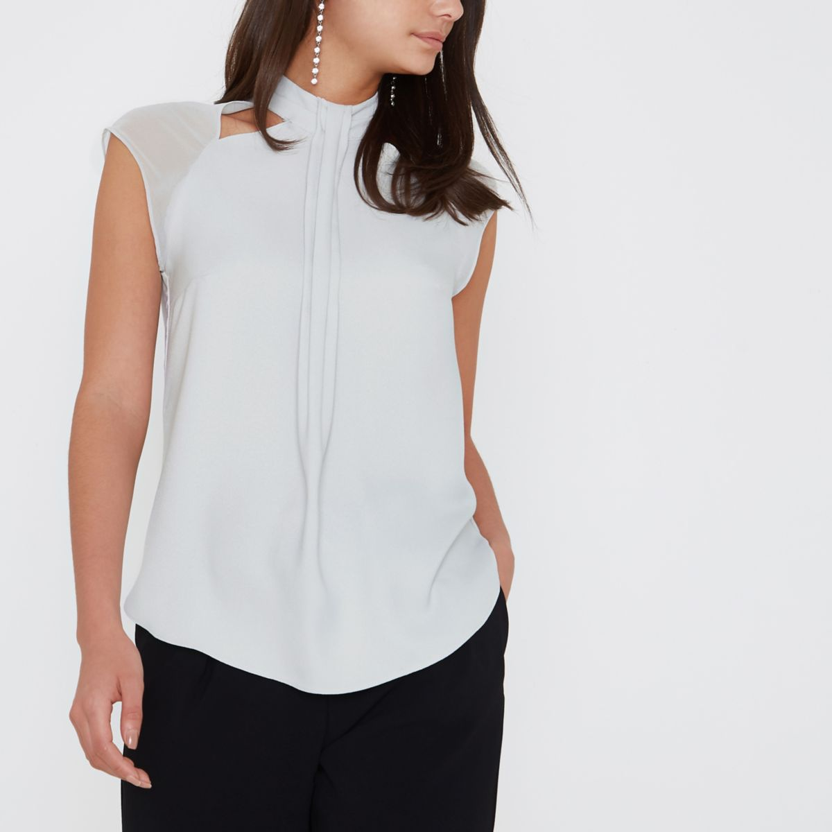 Light grey pleated panel high neck top