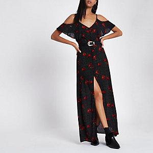 Zwarte lange cami-jurk met stippen, bloemenprint en ruches