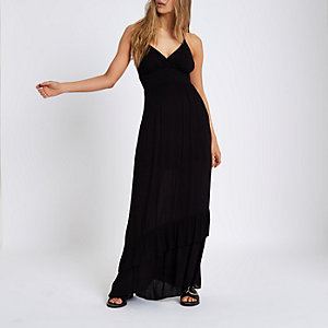 Black shirred halter maxi dress