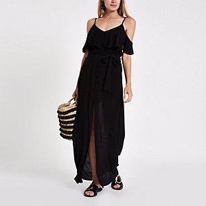 Schwarzes, langes Trägerkleid mit Rüschen