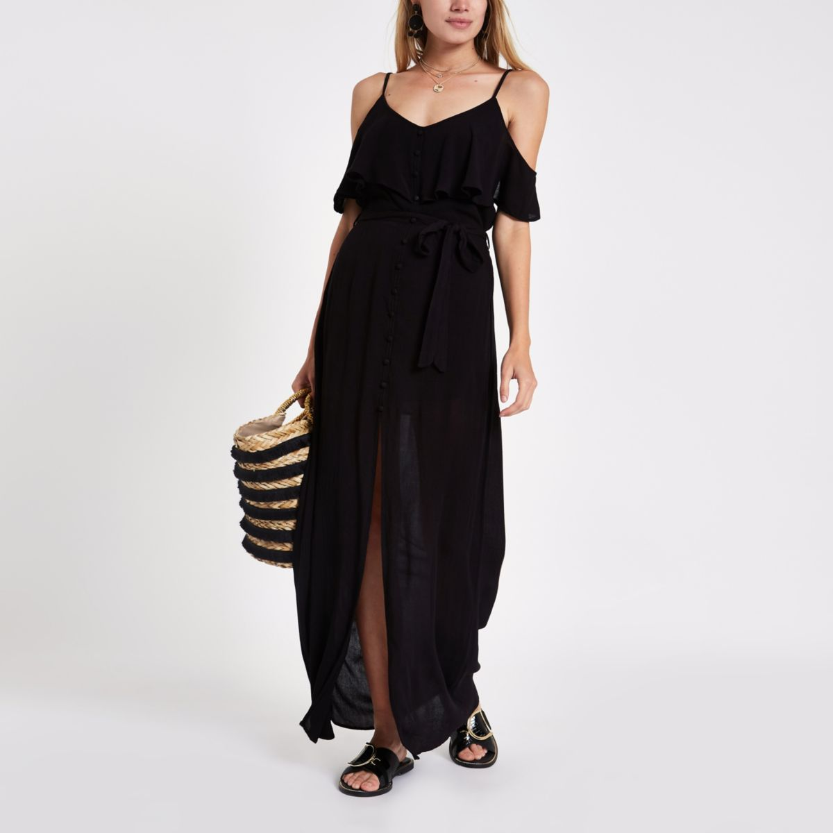 Black frill button maxi cami dress