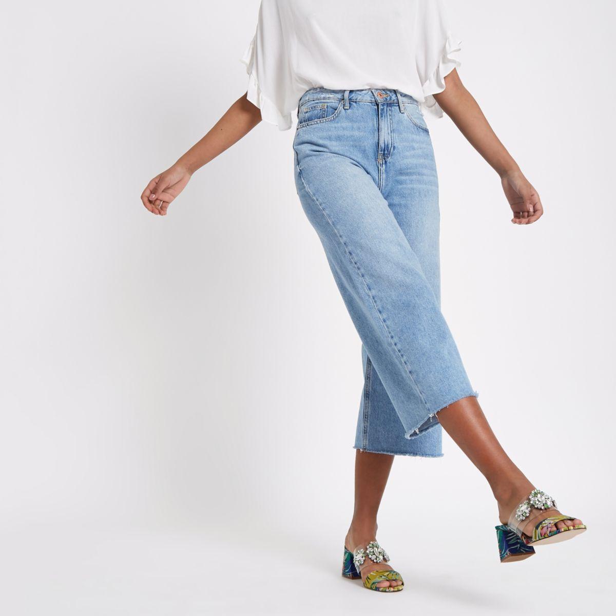 Alexa - Middenblauwe cropped jeans met wijde pijpen