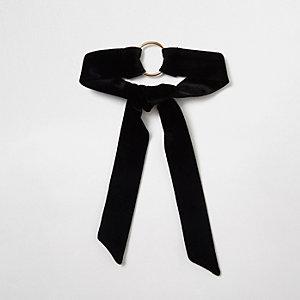 Collier ras-de-cou polyvalent en velours noir avec anneau