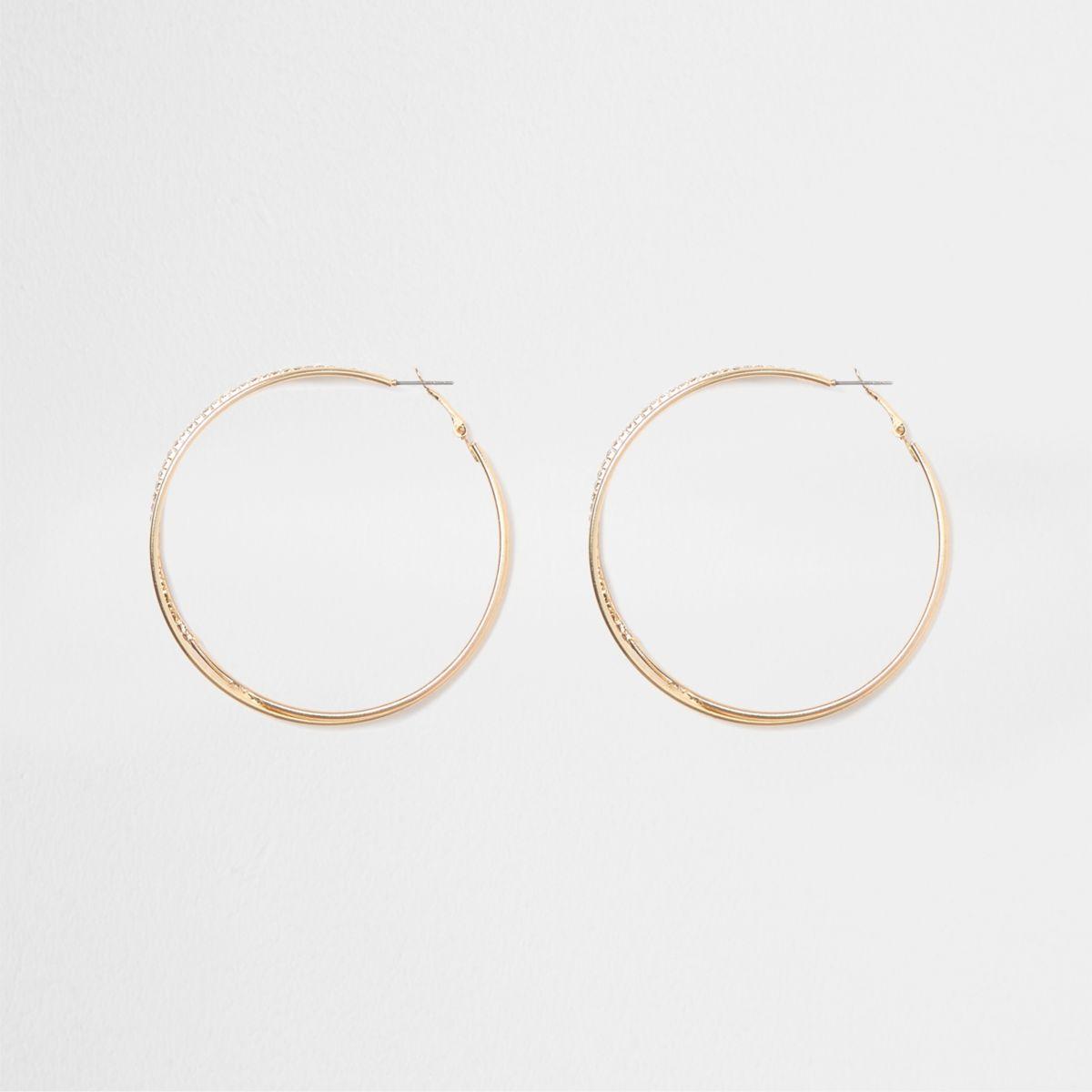 Gold tone double hoop diamante earrings