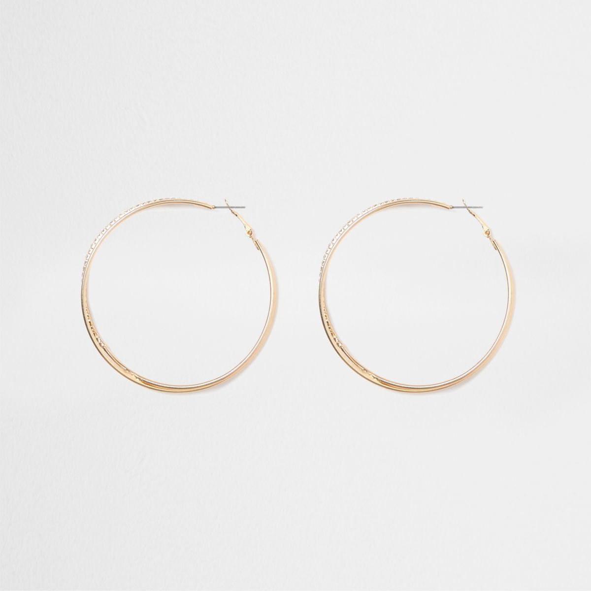Gold tone double hoop rhinestone earrings