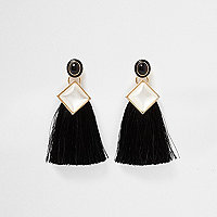 Black square faux pearl tassel drop earrings