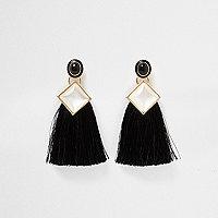Pendants d'oreilles fausse perle noire avec motif carré et pampille