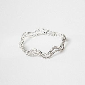 Bracelet argenté ondulé orné de strass