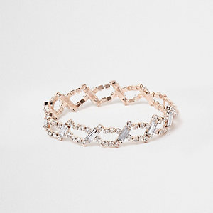 Rose gold tone diamante link bracelet