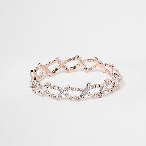 Rose gold tone rhinestone link bracelet