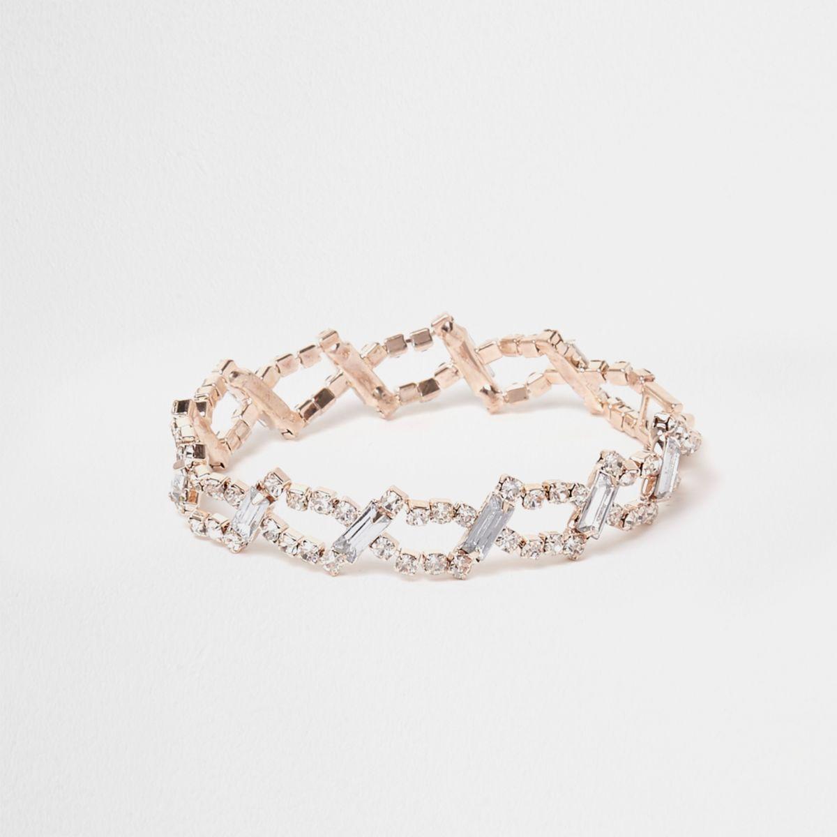Rose gold tone diamante link bracelet