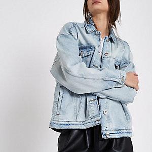 Veste authentique en jean bleu déchiré