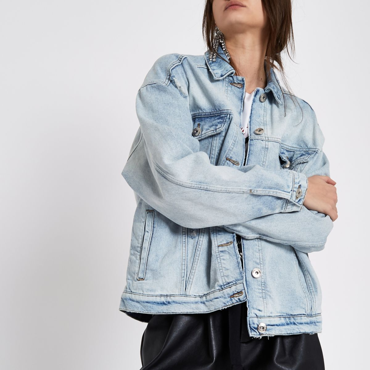 Blue authentic ripped denim jacket
