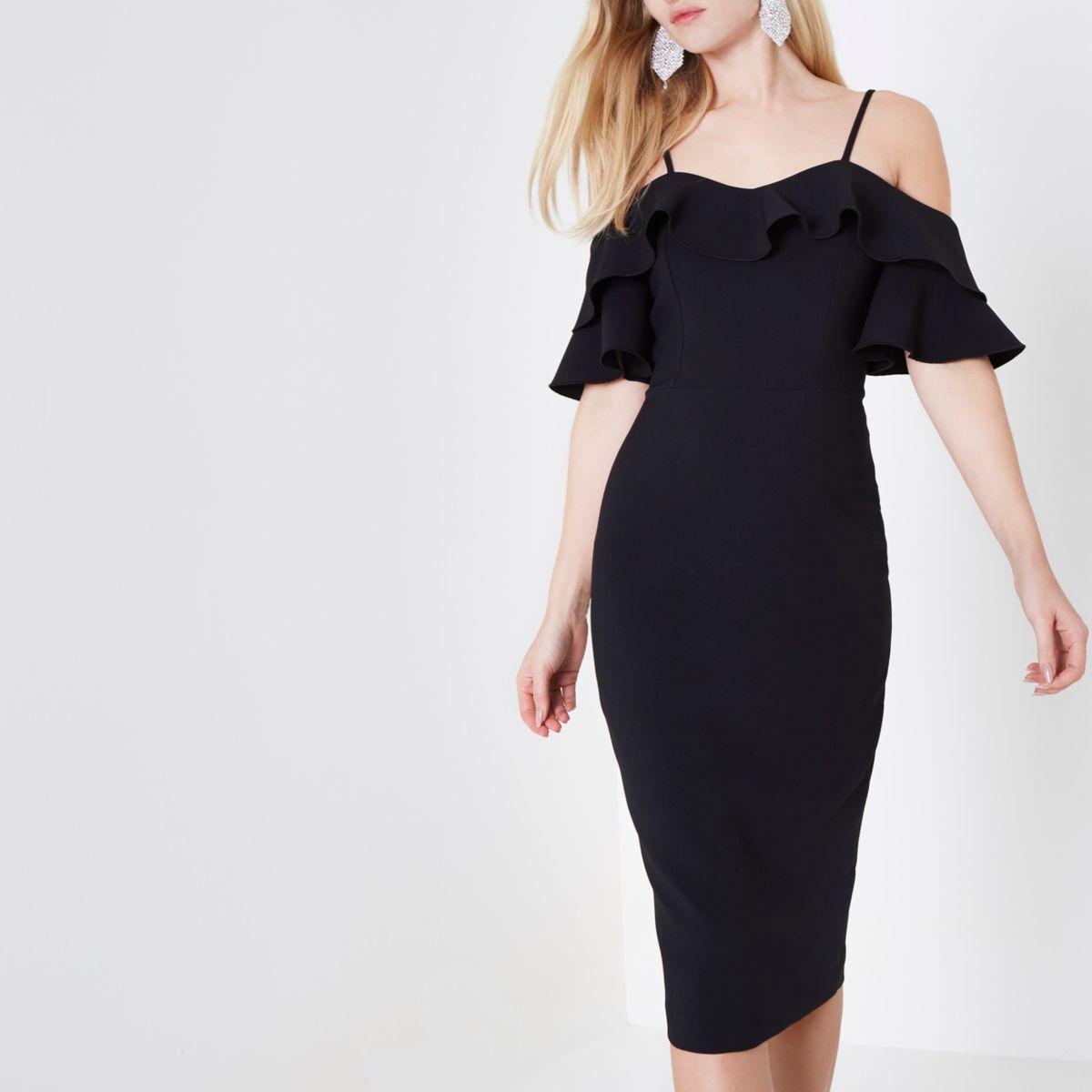 Black bardot frill bodycon midi dress