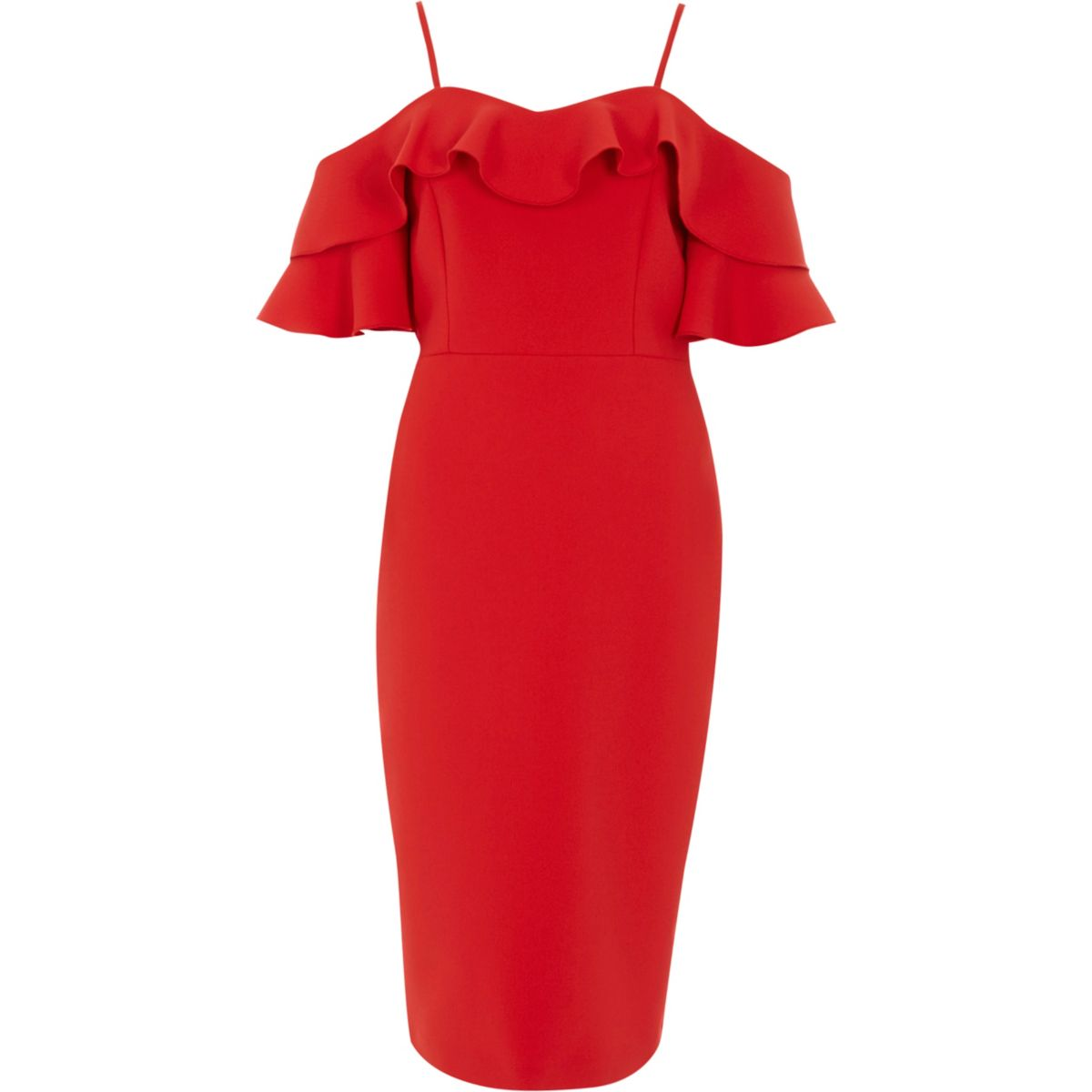 Red bardot frill bodycon midi dress