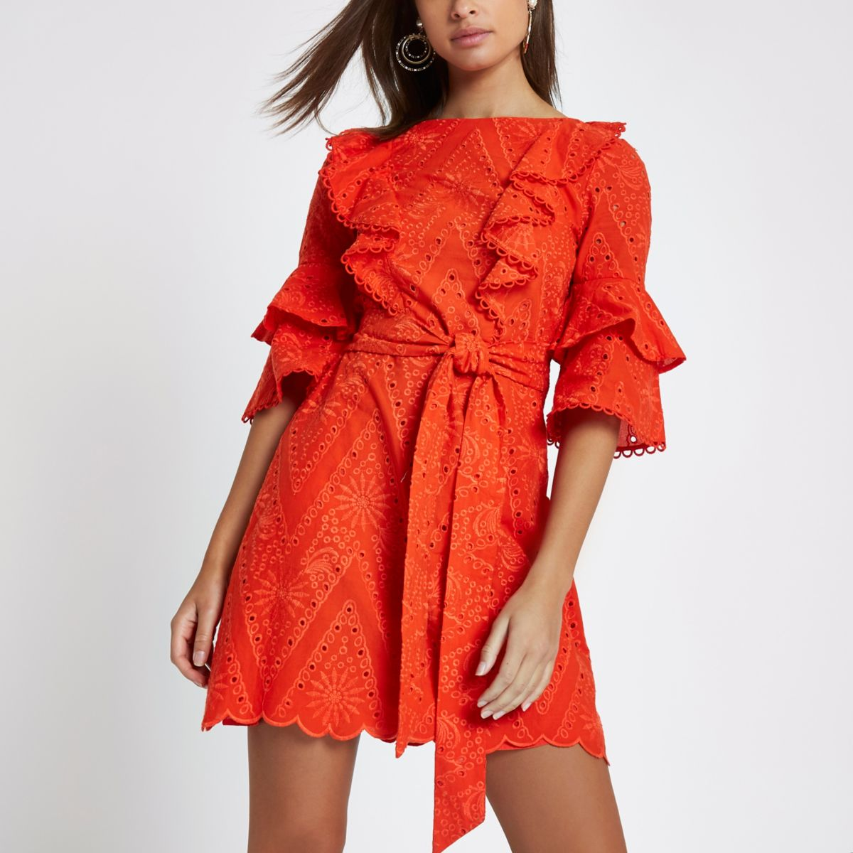 Red lace frill tie waist dress