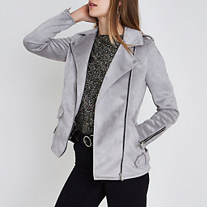 Grey faux suede aviator jacket