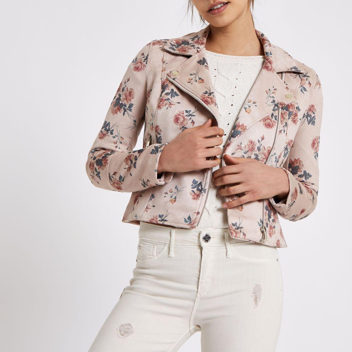 Pink floral faux suede biker jacket