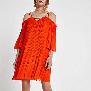 Red plisse chiffon cold shoulder swing dress