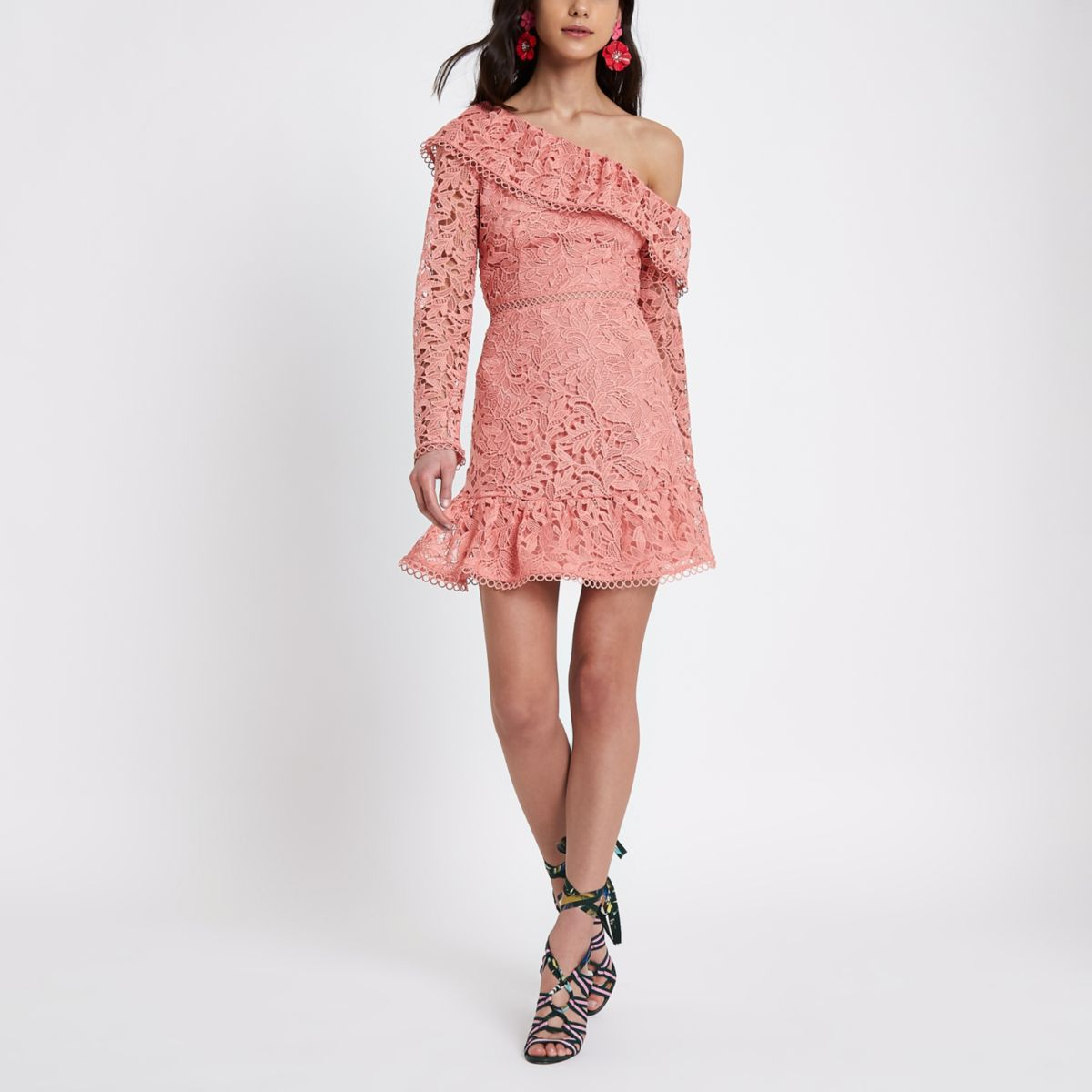 Pink lace one shoulder frill occasion dress