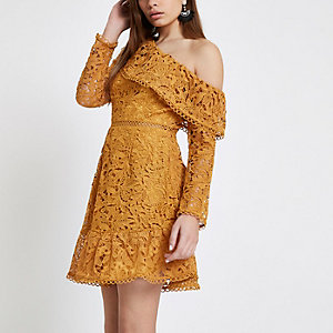Mustard lace one shoulder frill dress