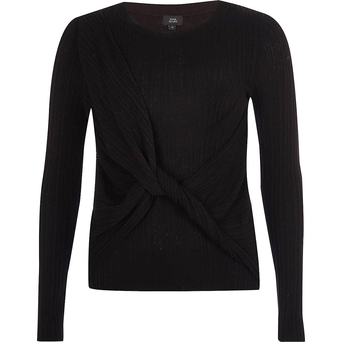 Black ribbed wrap knot front knit jumper