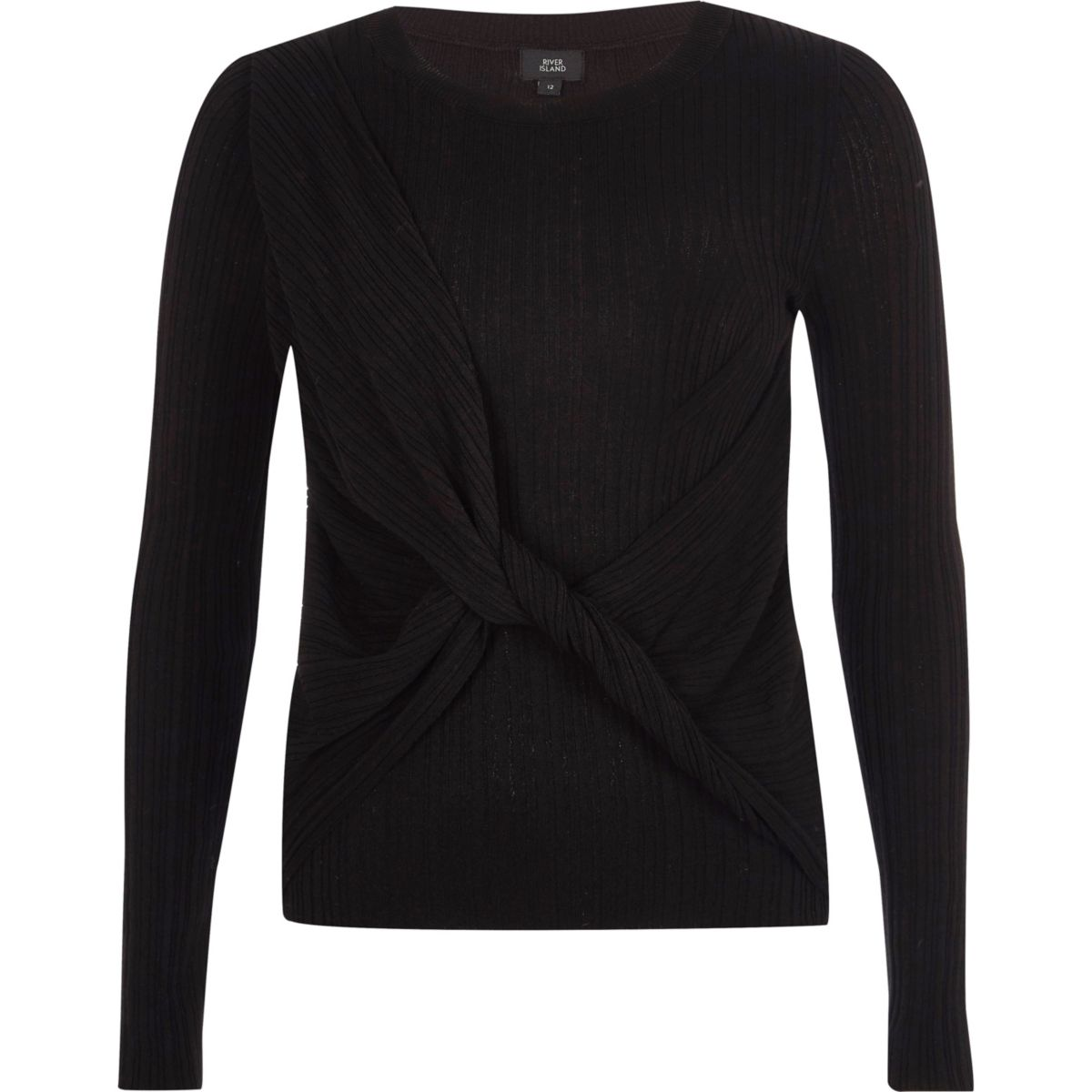 Black ribbed wrap knot front knit sweater