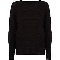 Black ribbed tie back knit jumper