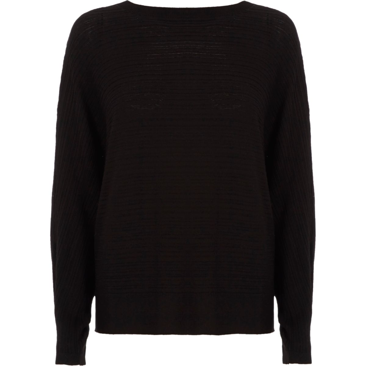 Black ribbed tie back knit sweater
