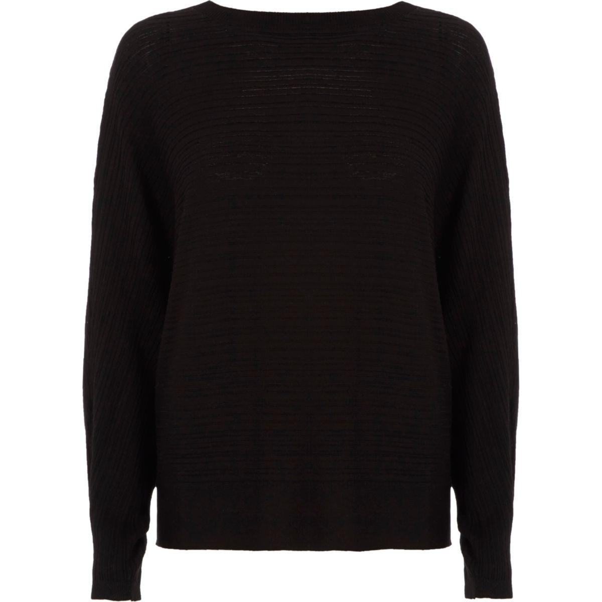 Black ribbed tie back knit sweater - Sweaters - Knitwear - women