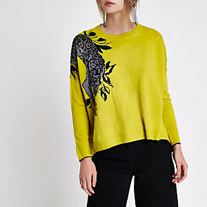 Yellow metallic leopard asymmetric hem jumper