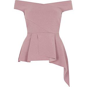 Light pink asymmetric peplum hem bardot top